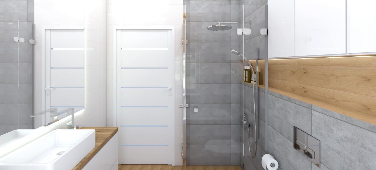łazienka drewno i beton