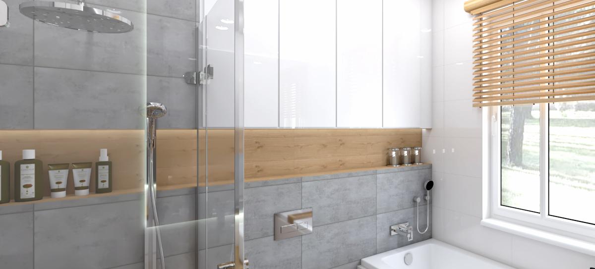łazienka – szary i drewno