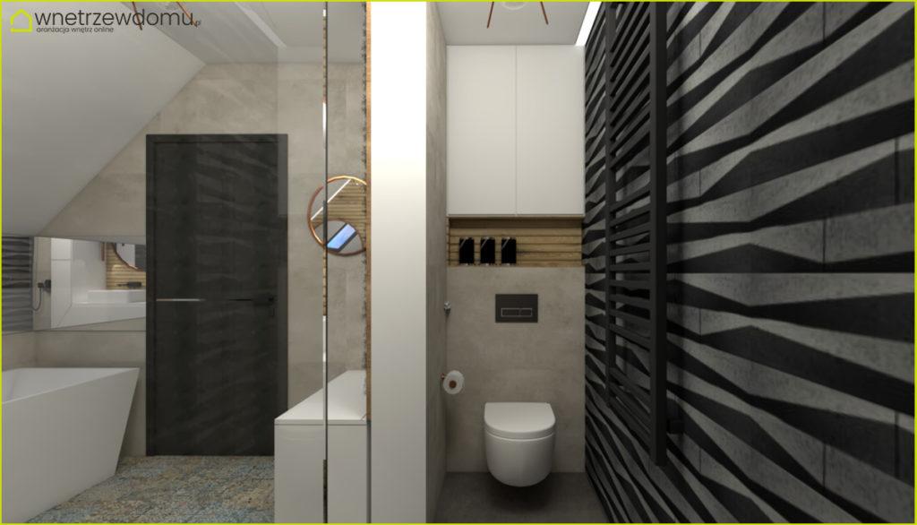 łazienka z dodatkami w kolorze miedzi