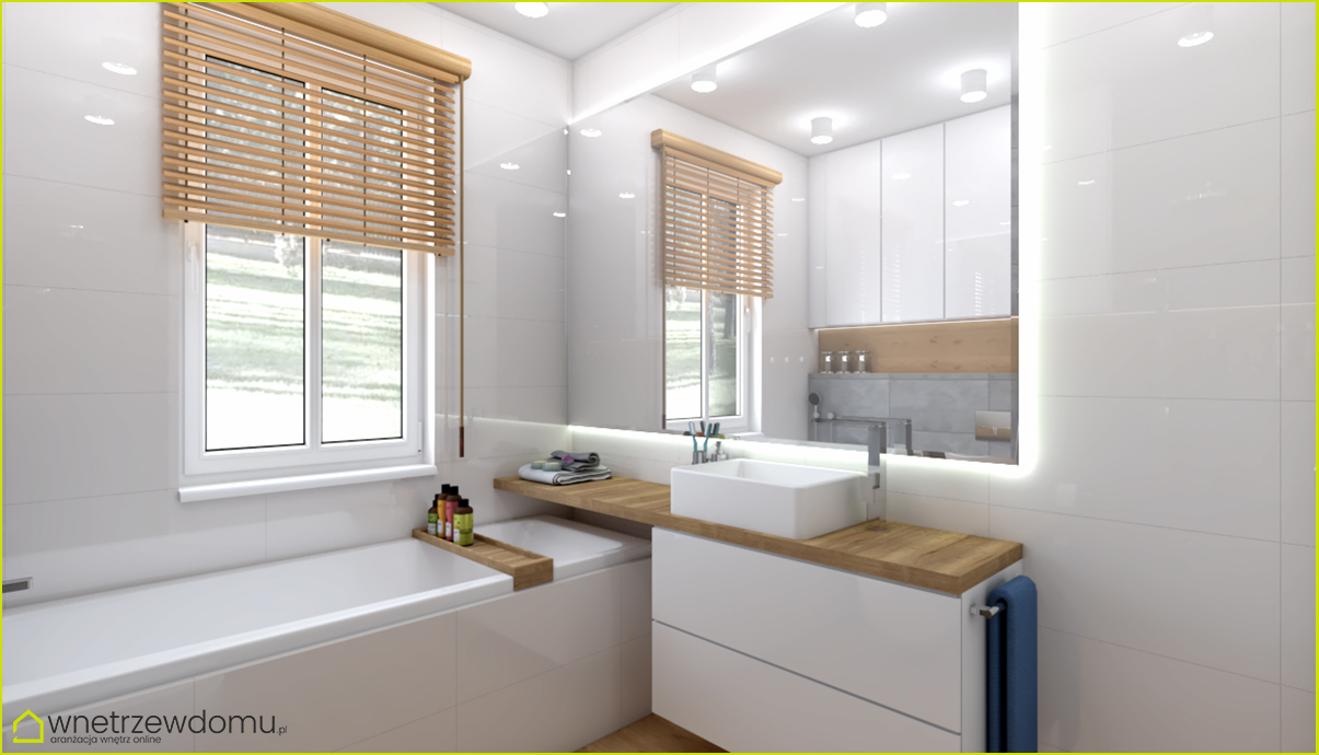 Nowoczesna łazienka Połączenie Bieli Drewna I Betonu