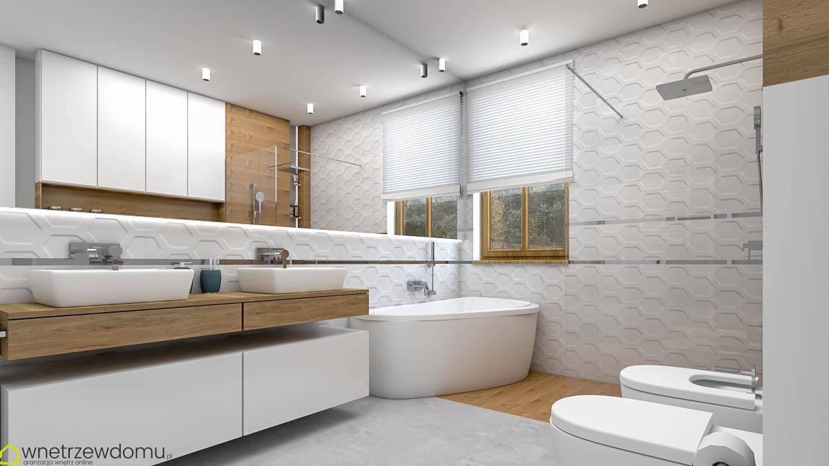 łazienka drewno i biel