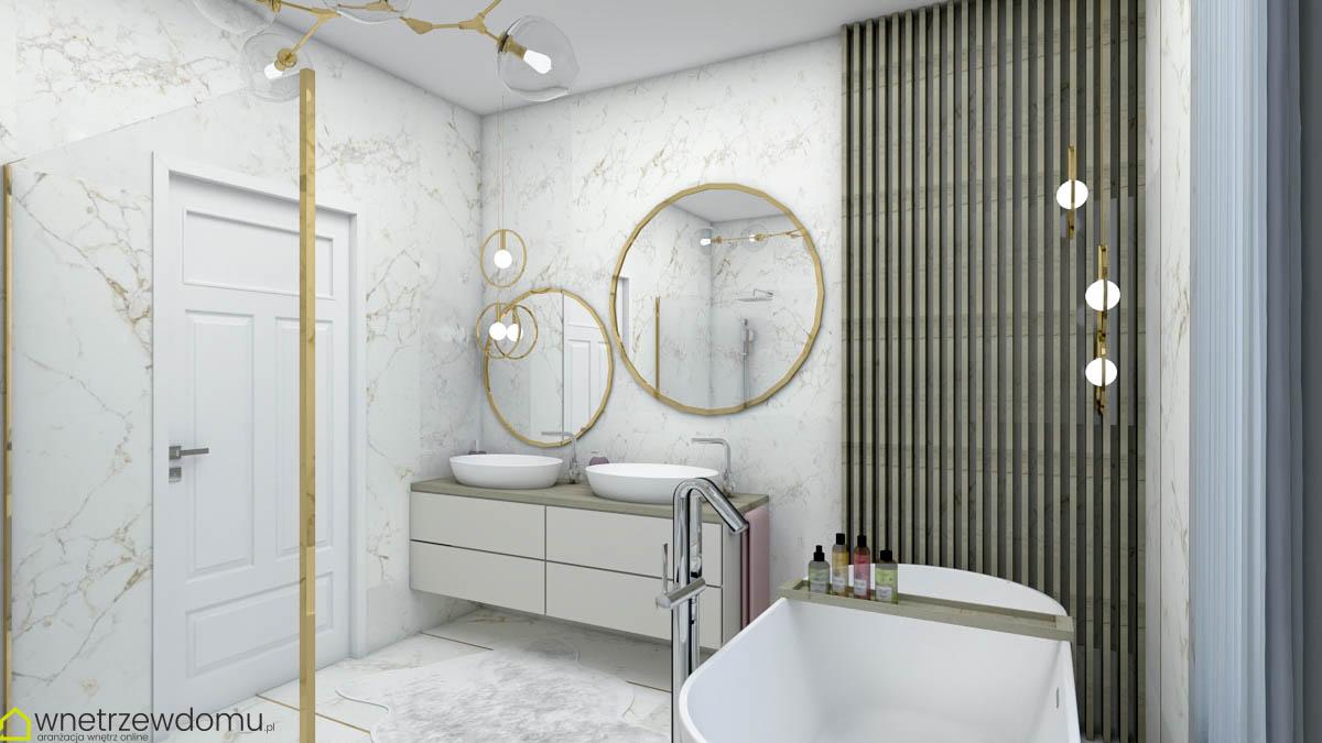 marmur i drewno w łazience