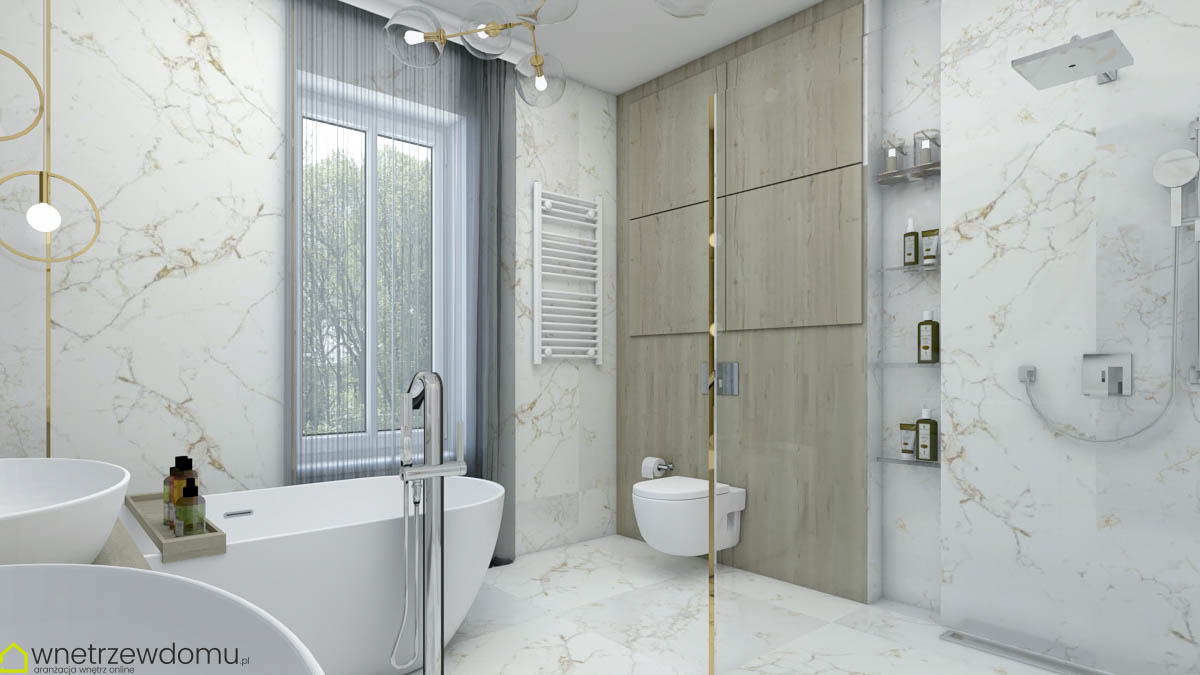 wanna wolnostojąca i prysznic w łazience