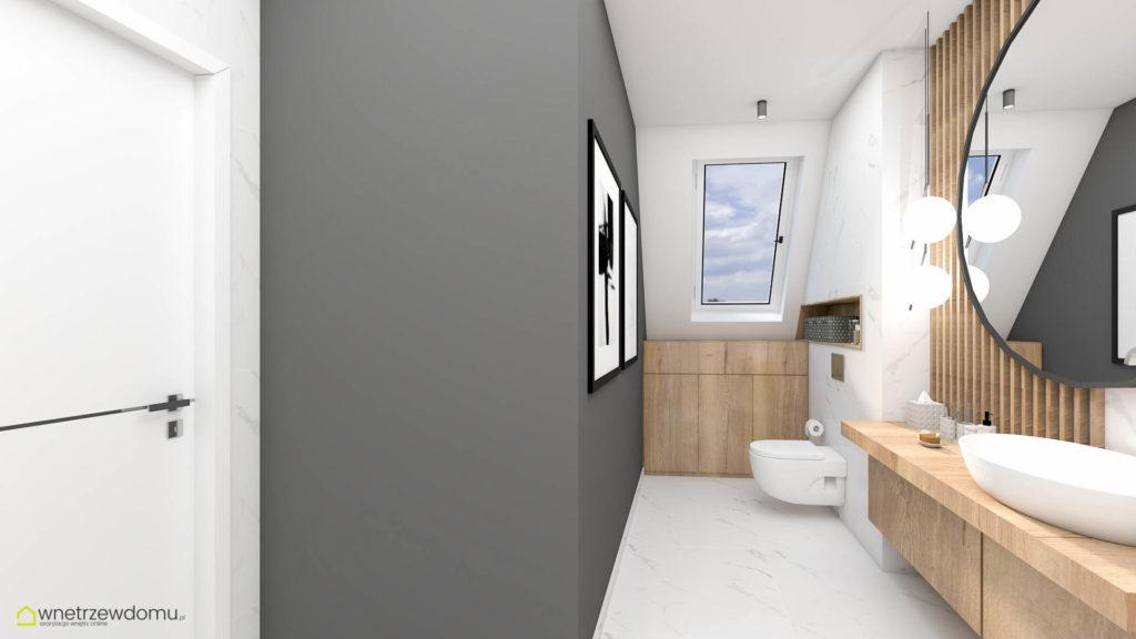 łazienka z płytkami z białego marmuru