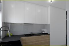 kuchnia biała szara z drewnem