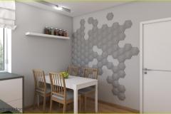 panele 3d na ścianie w kuchni