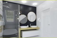 łazienka biała ze złotymi dodatkami