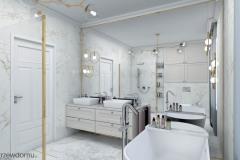 lustro na całej ścianie w łazience