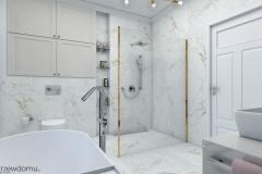 łazienka z dodatkami w kolorze złota
