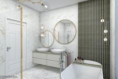 drewno i marmur w łazience