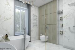 łazienka w stylu glamour z drewnem