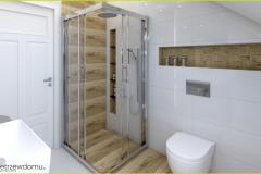 prysznic w łazience na poddaszu