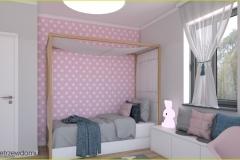 łóżko z baldachimem w pokoju dziecięcym