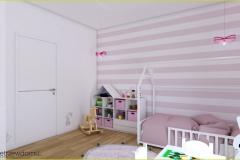 ściana w paski w pokoju dziecięcym