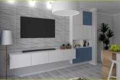nowoczesny salon z aneksem kuchennym