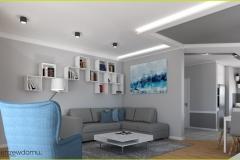 nowoczesny salon z niebieskimi dodatkami