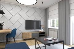 beton na ścianie w salonie