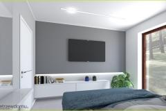 ściana z telewizorem w sypialni