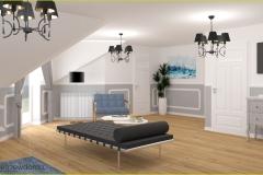 połączenie sypialni i salonu