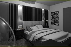 sypialnia w ciemnych kolorach