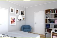 sypialnia w szarości z niebieskimi dodatkami