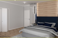 sypialnia z lustrami na ścianie