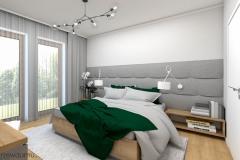 łóżko z zagłówkiem na całą ścianę